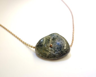 Green prehnite pendant on a long bronze chain