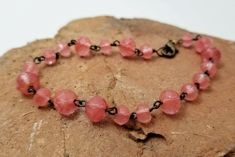 Pink quartz and copper bracelet 7.5 inch long image 0