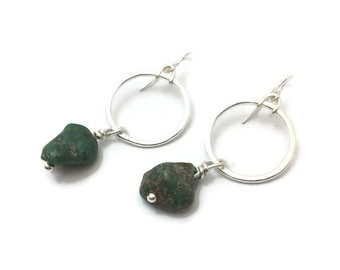 Sterling silver circle and green blue chunky turquoise drop earrings, summery mermaid beach style