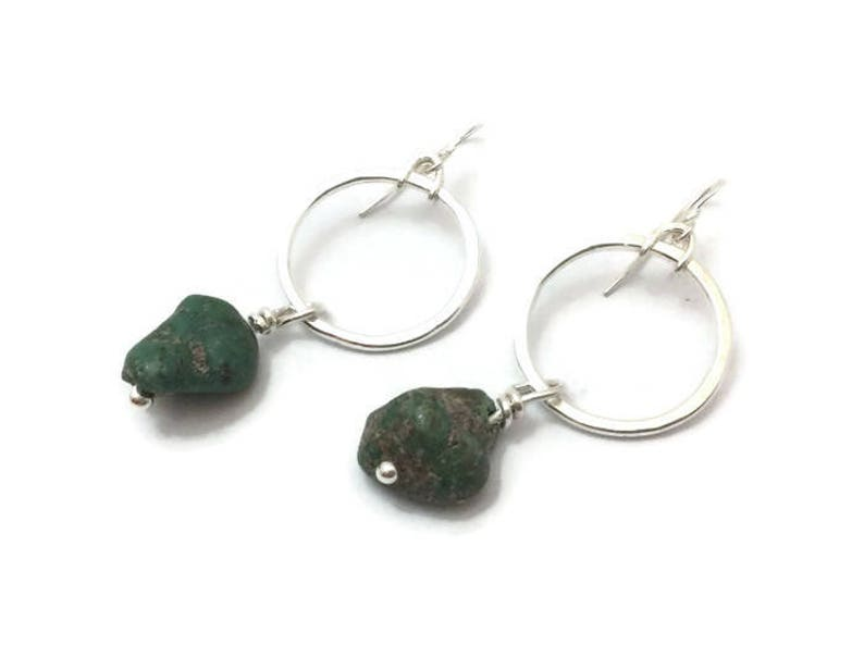 Sterling silver circle and green blue chunky turquoise drop image 0