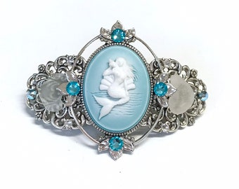 8710919f3 Hair Barrette Mermaid Cameo with Beach Glass and Crystal Accents