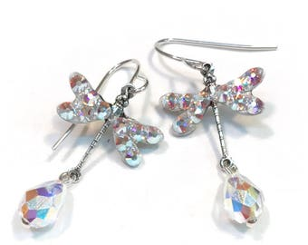f64890253 Dragonfly Earrings - Dragonfly Jewelry - Swarovski Crystal AB - Crystal  Earrings - Crystal Jewelry - Sterling Silver Earwires