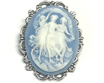 Cameo Brooch - Three Muses Cameo - Blue and White Cameo Pin - Brooch for Women - Cameo Gift - Cameo Jewelry
