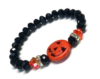 Halloween Bracelet - Pumpkin Bracelet - JackoLantern Bracelet - Stretch Bracelet - Bracelet For Women - Orange and Black - 7 - 7.5 - 8 Inch