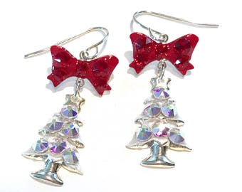 Christmas Tree Earrings - Holiday Earrings -  Crystal AB - Christmas Jewelry - Red Bows - Sterling Silver Ear Wires -  Dangle Earrings