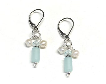 Sea Glass Inspired Earrings - Light Aqua and Pearl - Sterling Silver - Earrings for Woman - Lever Back Earrings - Beach Wedding Jewelry