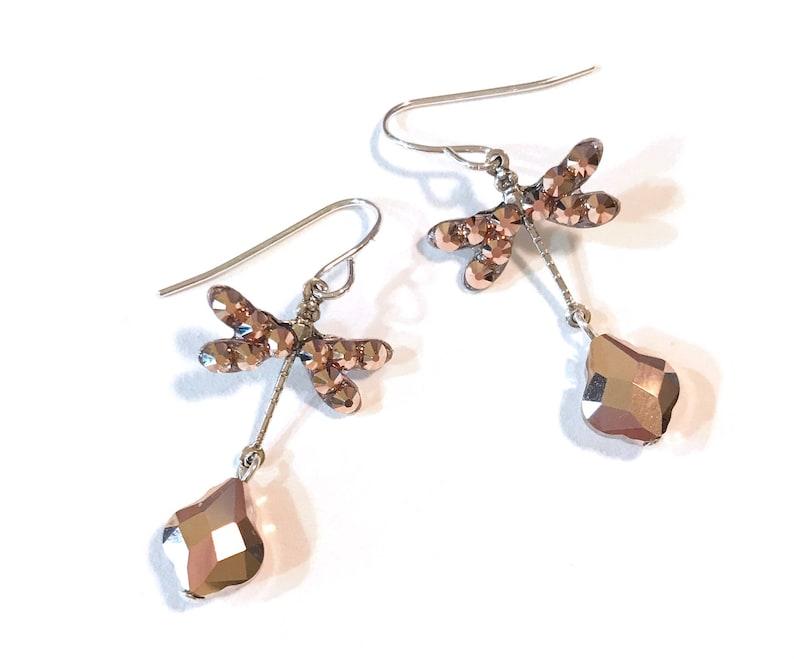24146f158 Dragonfly Earrings Dragonfly Crystal Earrings Rose Gold | Etsy