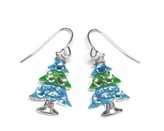 Christmas Tree Earrings - Crystal- Christmas Jewelry - Aqua and Green - Coastal -
