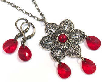 Red Necklace Set - Necklace and Earrings - Light Siam Crystals - Brass Jewelry - Gift for Her - Valentine's Day Gift - Filigree Jewelry