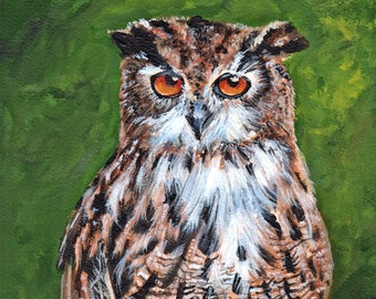 8x10 owl original  painting in acrylic on arches watercolor paper