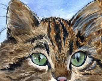 cat watercolor painting reproduction print ACEO baseball card size
