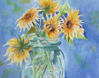 Sunflowers in a blue ball mason jar 9x12 watercolor