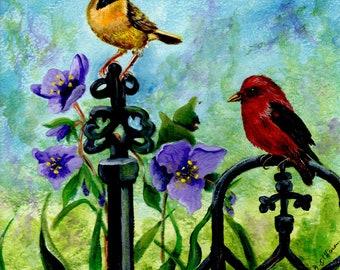 Birds on wroght iron fence