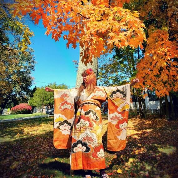 Vintage Wedding Kimono- Womens Fancy Silk Kimono-