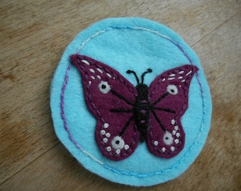 Magnet, Butterfly Magnet, Refrigerator Magnet, Nature art, butterflies, Magnets, Embroidery