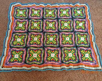COLORFUL CROCHET-ALONG afghan/blanket/throw/lapgan