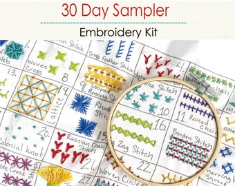 30 Day Sampler Embroidery Class - VOLUME 2 - (Kit and Video Class)