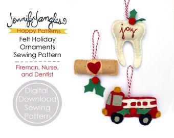 Fireman, Nurse, and Dentist Felt Holiday Ornaments - PDF