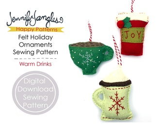 Warm Drinks Felt Holiday Ornaments - PDF