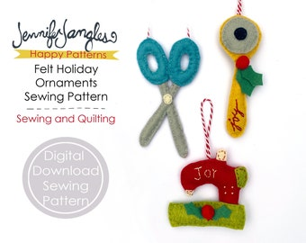 Sewing and Quilting Felt Holiday Ornaments - PDF