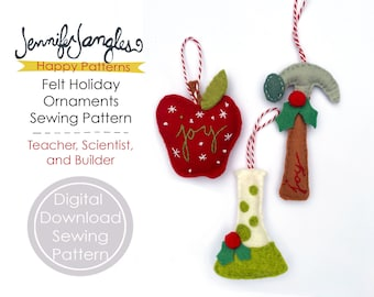 Scientist, Teacher, and Builder Felt Holiday Ornaments - PDF