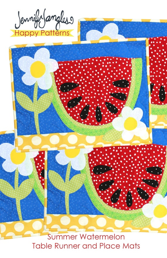 Summer watermelon placemats and table runner sewing pattern etsy image 0 watchthetrailerfo