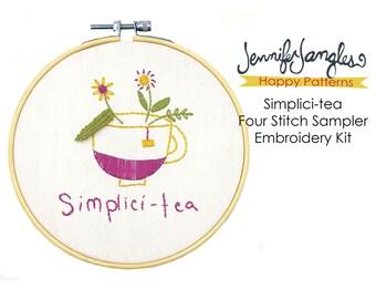 Four Stitch Sampler - Simplici-tea Embroidery Kit