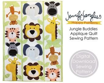 Jungle Buddies Applique Quilt Sewing Pattern