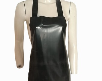 Pure Latex Rubber Apron Black Sissy Roleplay Overall Waterproof Pinny LiGjz1vE