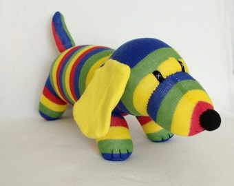 Striped sock sausage dog soft toy , dachshund, weiner dog puppy cuddly plushie baby safe gift sock monkey friend