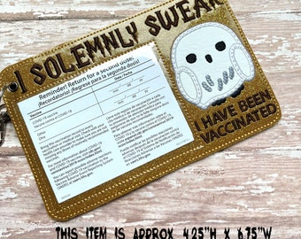 White Owl Vaccine Holder, Vaccination Card Holder Keychain, Vaccine Card Holder, Vaccination Card Protector, Solemnly Swear