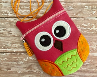 Owl Crossbody Purse, Little Girl's Pocketbook, Little Girl's Purse, Little Girl's Handbag, Owl Pocketbook, Owl Purse, Kids Purse