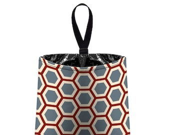 Car Trash Bag // Auto Trash Bag // Car Accessories // Car Litter Bag // Car Garbage Bag - Honeycomb maroon dark grey beige // Car Organizer