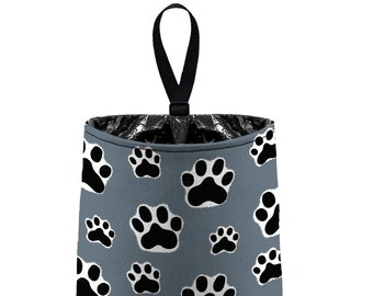 Car Trash Bag // Auto Trash Bag // Car Accessories // Car Litter Bag // Car Garbage Bag - Paw Print Dark Grey Black White Dog Cat Pet