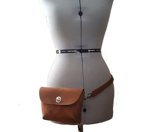 Hip Bag Belt Bag Fanny Pack Travel - Caramel Brown Tan Camel Leather Full Grain Thick Sturdy - Belt Dog Walking Hiking Pouch Phone Case