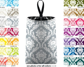 Auto Trash - Damask - PICK YOUR COLOR - Car Trash Bag Car Accessory Automobile Caddy Trash Bin Garbage Floral Custom