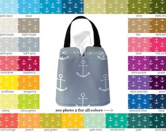 Auto Sneeze Box - Anchors - PICK YOUR COLOR - Car Accessory Automobile Caddy Tissue Case Nautical