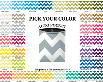 Auto Pocket - Chevrons - PICK YOUR COLOR - Car Accessory Automobile Caddy