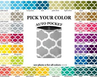 Auto Pocket - Moroccan Trellis - PICK YOUR COLOR - Car Accessory Automobile Caddy