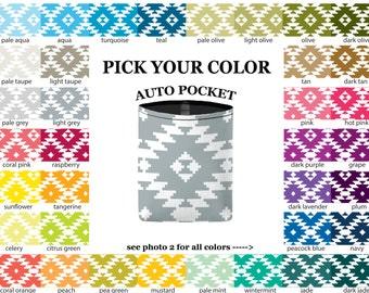 Auto Pocket - Aztec - PICK YOUR COLOR - Car Accessory Automobile Caddy
