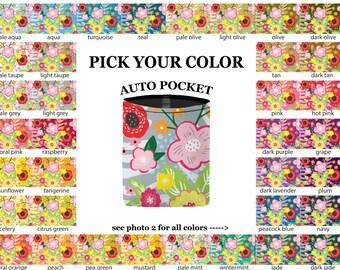 Auto Pocket - Floral Burst - PICK YOUR COLOR - Car Accessory Automobile Caddy