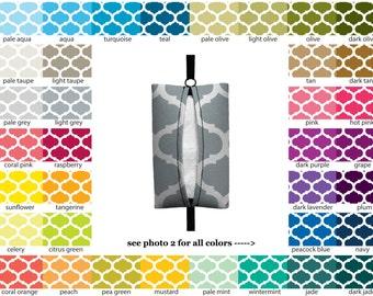 Auto Sneeze - Moroccan Trellis - PICK YOUR COLOR - Visor Tissue Case/Cozy - Car Accessory Automobile lattice quatrefoil