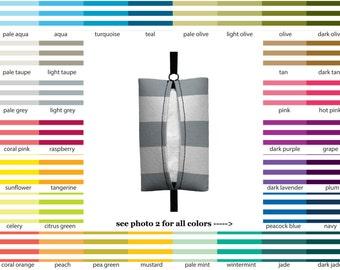 Auto Sneeze - Canopy Stripes - PICK YOUR COLOR - Visor Tissue Case/Cozy - Car Accessory Automobile Nautical Polo