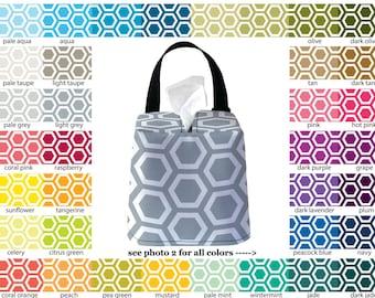 Auto Sneeze Box - Honeycomb - PICK YOUR COLOR - Car Accessory Automobile Caddy Tissue Case Hexagon