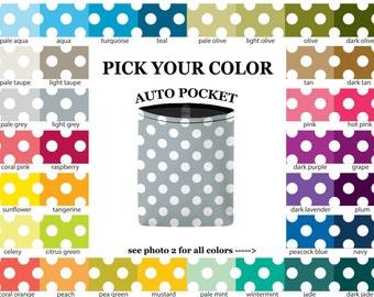Auto Pocket - Mini Polka Dots - PICK YOUR COLOR - Car Accessory Automobile Caddy - polkadots