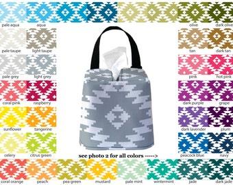 Auto Sneeze Box - Aztec - PICK YOUR COLOR - Car Accessory Automobile Caddy Tissue Case Tribal
