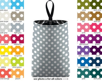 Auto Trash - Mini Polka Dots - PICK YOUR COLOR - Car Trash Bag Car Accessory Automobile Caddy Trash Bin Garbage Floral Custom