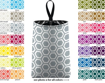 Auto Trash - Honeycomb - PICK YOUR COLOR - Car Trash Bag Car Accessory Automobile Caddy Trash Bin Garbage Floral Custom