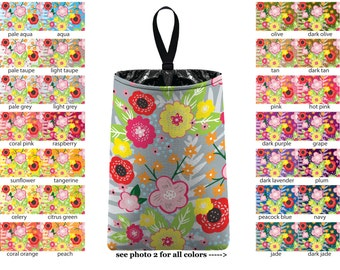 Auto Trash - Floral Burst - PICK YOUR COLOR - Car Trash Bag Car Accessory Automobile Caddy Trash Bin Garbage Floral Custom