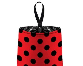 Car Trash Bag // Auto Trash Bag // Car Accessories // Car Litter Bag Car Garbage Bag - Jumbo Polka Dot Red Black Ladybug organizer polkadot